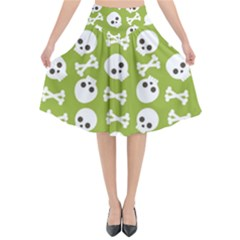 Skull Bone Mask Face White Green Flared Midi Skirt