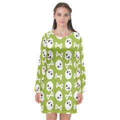 Skull Bone Mask Face White Green Long Sleeve Chiffon Shift Dress