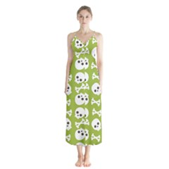 Skull Bone Mask Face White Green Button Up Chiffon Maxi Dress
