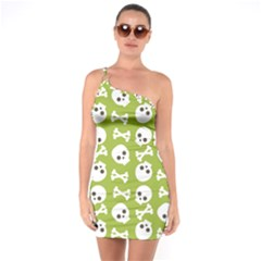 Skull Bone Mask Face White Green One Soulder Bodycon Dress