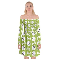 Skull Bone Mask Face White Green Off Shoulder Skater Dress