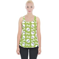 Skull Bone Mask Face White Green Piece Up Tank Top