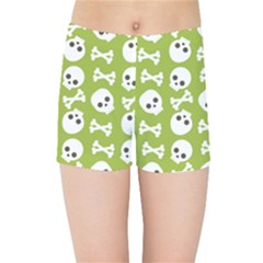 Skull Bone Mask Face White Green Kids Sports Shorts