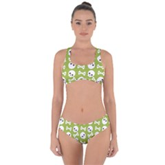Skull Bone Mask Face White Green Criss Cross Bikini Set