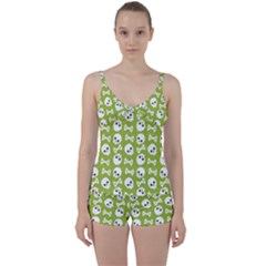 Skull Bone Mask Face White Green Tie Front Two Piece Tankini