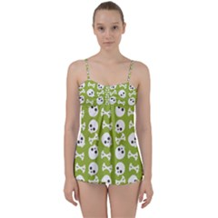 Skull Bone Mask Face White Green Babydoll Tankini Set