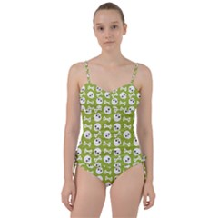 Skull Bone Mask Face White Green Sweetheart Tankini Set