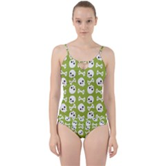 Skull Bone Mask Face White Green Cut Out Top Tankini Set