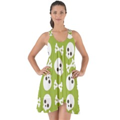 Skull Bone Mask Face White Green Show Some Back Chiffon Dress