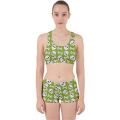 Skull Bone Mask Face White Green Work It Out Sports Bra Set