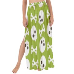 Skull Bone Mask Face White Green Maxi Chiffon Tie-Up Sarong