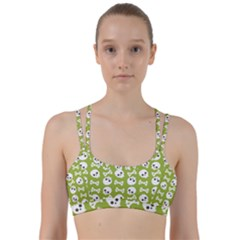 Skull Bone Mask Face White Green Line Them Up Sports Bra