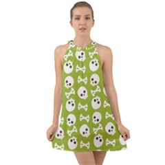 Skull Bone Mask Face White Green Halter Tie Back Chiffon Dress