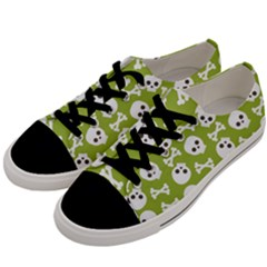 Skull Bone Mask Face White Green Men s Low Top Canvas Sneakers