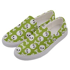 Skull Bone Mask Face White Green Men s Canvas Slip Ons