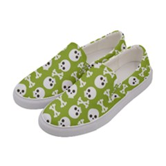 Skull Bone Mask Face White Green Women s Canvas Slip Ons