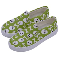 Skull Bone Mask Face White Green Kids  Canvas Slip Ons