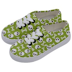 Skull Bone Mask Face White Green Kids  Classic Low Top Sneakers