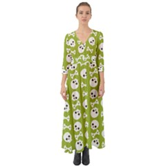 Skull Bone Mask Face White Green Button Up Boho Maxi Dress