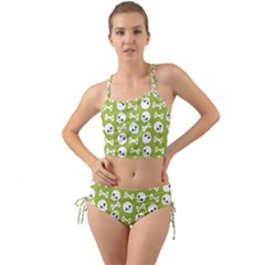 Skull Bone Mask Face White Green Mini Tank Bikini Set