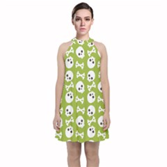 Skull Bone Mask Face White Green Velvet Halter Neckline Dress