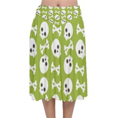 Skull Bone Mask Face White Green Velvet Flared Midi Skirt