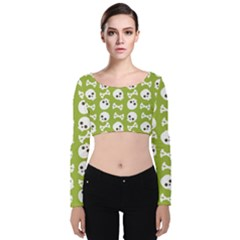 Skull Bone Mask Face White Green Velvet Long Sleeve Crop Top