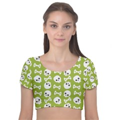 Skull Bone Mask Face White Green Velvet Short Sleeve Crop Top
