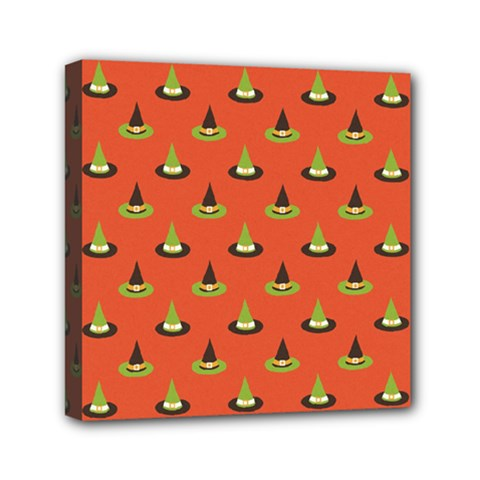 Hat Wicked Witch Ghost Halloween Red Green Black Mini Canvas 6  X 6