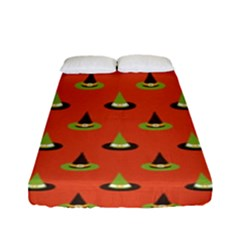 Hat Wicked Witch Ghost Halloween Red Green Black Fitted Sheet (full/ Double Size) by Alisyart