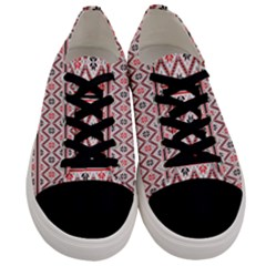 Red Flower Star Patterned Men s Low Top Canvas Sneakers