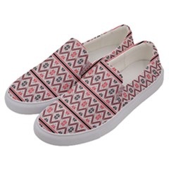 Red Flower Star Patterned Men s Canvas Slip Ons by Alisyart