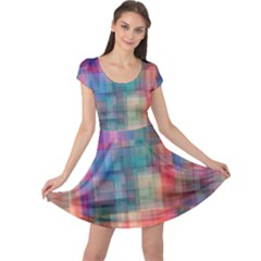 Rainbow Prism Plaid  Cap Sleeve Dress by KirstenStar