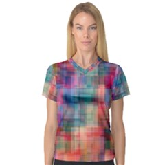 Rainbow Prism Plaid  V Neck Sport Mesh Tee by KirstenStar