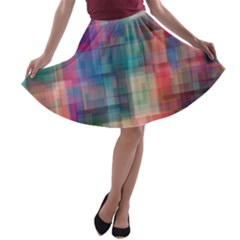 Rainbow Prism Plaid  A Line Skater Skirt by KirstenStar