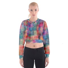 Rainbow Prism Plaid  Cropped Sweatshirt by KirstenStar