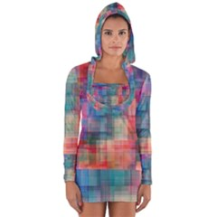 Rainbow Prism Plaid  Long Sleeve Hooded T Shirt