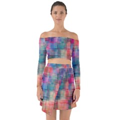 Rainbow Prism Plaid  Off Shoulder Top With Skirt Set by KirstenStar