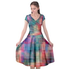 Rainbow Prism Plaid  Cap Sleeve Wrap Front Dress by KirstenStar