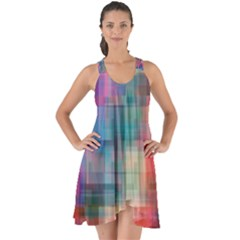 Rainbow Prism Plaid  Show Some Back Chiffon Dress by KirstenStar