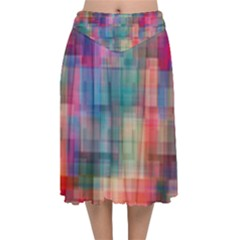 Rainbow Prism Plaid  Velvet Flared Midi Skirt by KirstenStar