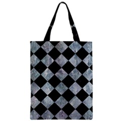 Square2 Black Marble & Ice Crystals Zipper Classic Tote Bag by trendistuff