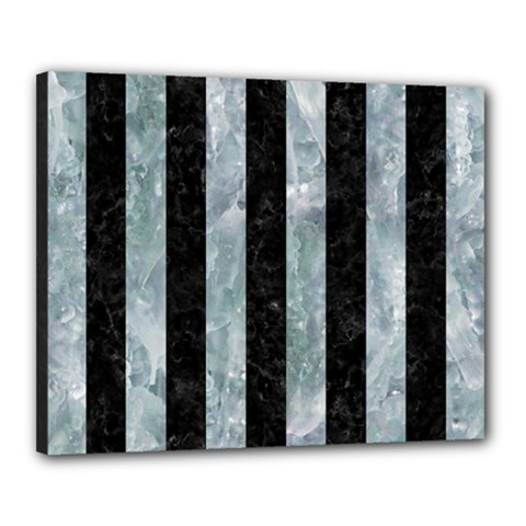 Stripes1 Black Marble & Ice Crystals Canvas 20  X 16  by trendistuff