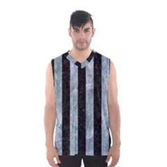 Stripes1 Black Marble & Ice Crystals Men s Basketball Tank Top by trendistuff