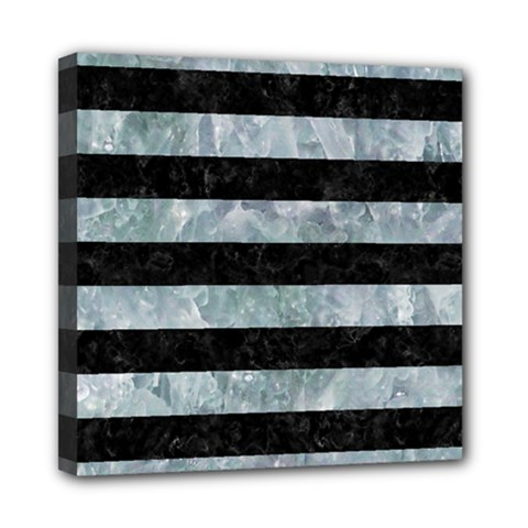Stripes2 Black Marble & Ice Crystals Mini Canvas 8  X 8  by trendistuff