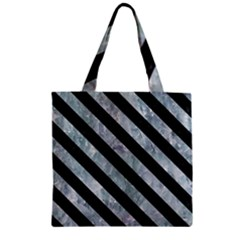 Stripes3 Black Marble & Ice Crystals Zipper Grocery Tote Bag by trendistuff