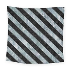 Stripes3 Black Marble & Ice Crystals Square Tapestry (large)