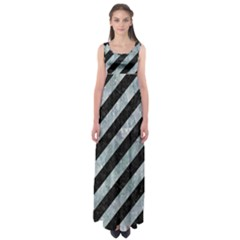 Stripes3 Black Marble & Ice Crystals (r) Empire Waist Maxi Dress