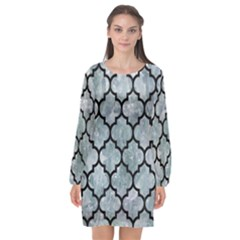 Tile1 Black Marble & Ice Crystals Long Sleeve Chiffon Shift Dress