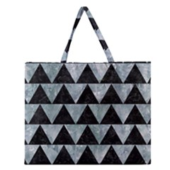 Triangle2 Black Marble & Ice Crystals Zipper Large Tote Bag by trendistuff